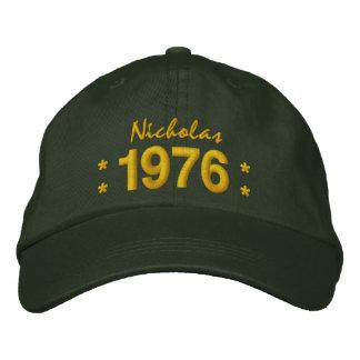 Gorra Bordada Llevado en 1976 o cualquier VERDE del cumpleaños