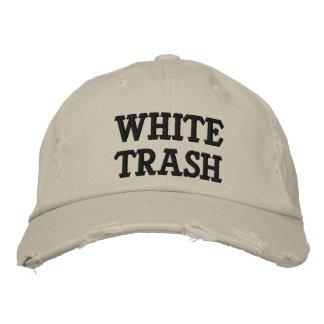 Gorra bordado de la basura blanca