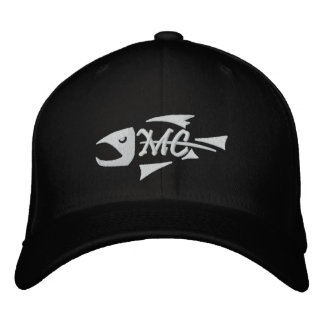 Gorra bordado esqueleto medio de los pescados de l gorra de béisbol bordada