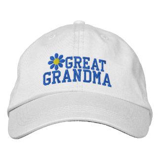 Gorra bordado flor azul de la bisabuela