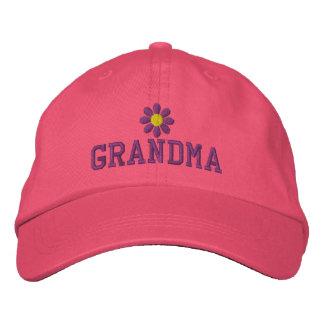 Gorra bordado flor púrpura de las abuelas