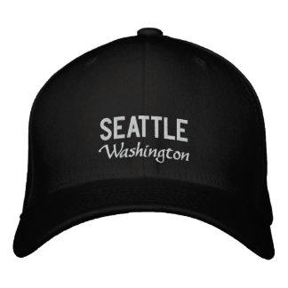 Gorra bordado Washington blanco y negro de Seattle Gorra De Béisbol