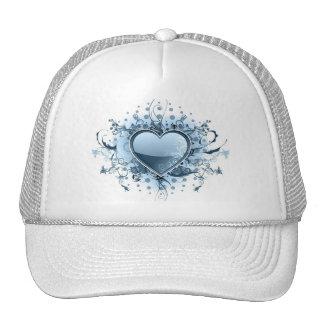 Gorra de béisbol azul del corazón de Emo