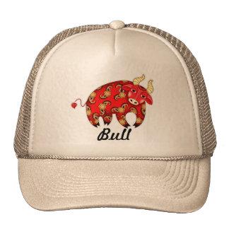 ¡Gorra de Bull - diseño del casquillo en rojo - pe Gorros Bordados
