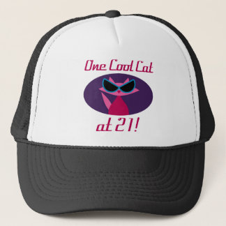 Gorra De Camionero 21ro cumpleaños del gato fresco