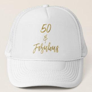 Gorra De Camionero 50.o Efecto metalizado de oro del cumpleaños y