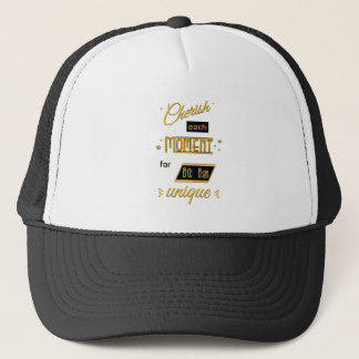 Gorra De Camionero Acaricie cada momento para él es oro único y negro