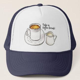 Gorra De Camionero Acuarela del descanso para tomar café y ejemplo de
