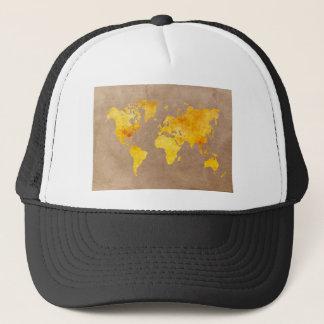 Gorra De Camionero amarillo del mapa del mundo