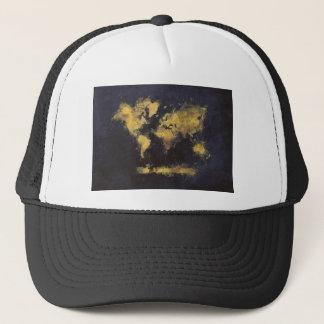 Gorra De Camionero amarillo negro del mapa del mundo