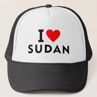 Gorra De Camionero Amo el país de Sudán como el turismo del viaje del