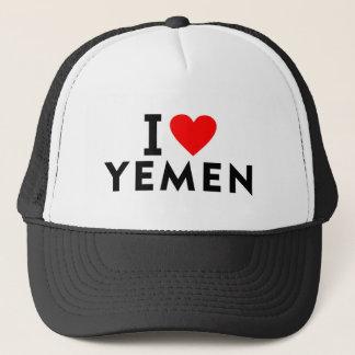 Gorra De Camionero Amo el país de Yemen como el turismo del viaje del