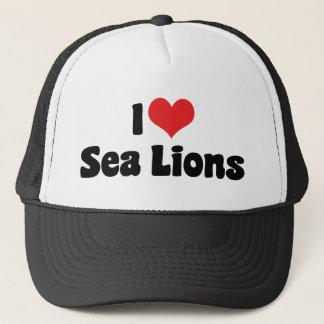 Gorra De Camionero Amo leones marinos del corazón