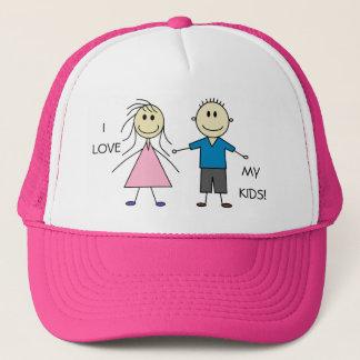 Gorra De Camionero AMO MI diseño sonriente lindo de los niños del
