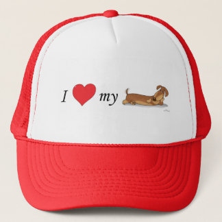 Gorra De Camionero Amo mi perro de la salchicha de Frankfurt