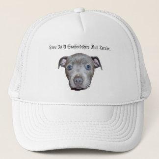 Gorra De Camionero Amor azul de la cara del perrito de Staffordshire