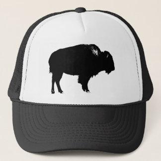Gorra De Camionero Arte pop negro y blanco de la silueta del búfalo