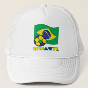 49c32a417143b Gorra De Camionero Balón brasileño de la bandera y de fútbol