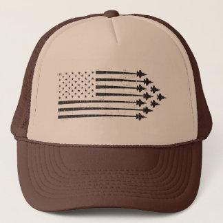 Gorra De Camionero Bandera americana de las estelas de vapor del