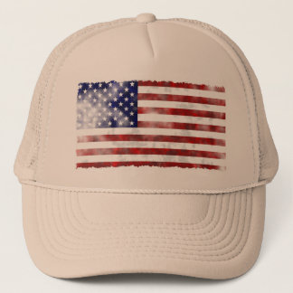 Gorra De Camionero Bandera americana hecha andrajos del vintage