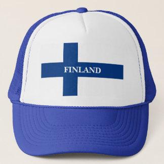 Gorra De Camionero Bandera de Finlandia Suomi cruzado azul