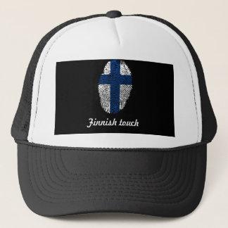 Gorra De Camionero Bandera finlandesa de la huella dactilar del tacto