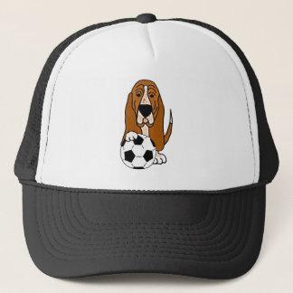 Gorra De Camionero Basset Hound divertido que juega a fútbol o a