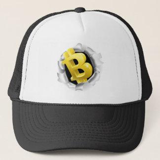 Gorra De Camionero Bitcoin que rompe concepto de la pared del fondo