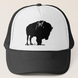 Gorra De Camionero Búfalo negro y blanco del bisonte del arte pop