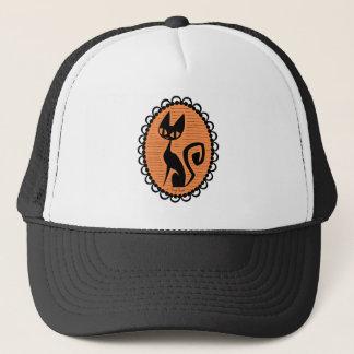 Gorra De Camionero Camafeo del gato negro de Halloween