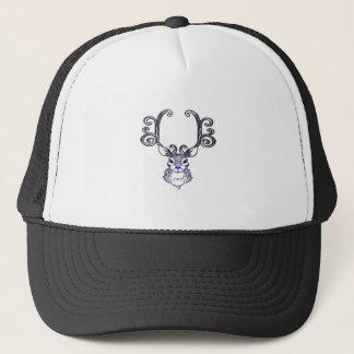 Gorra De Camionero Camisa azul linda del navidad del reno de la nariz