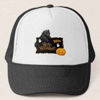 Gorra De Camionero Camiseta del gato del feliz Halloween
