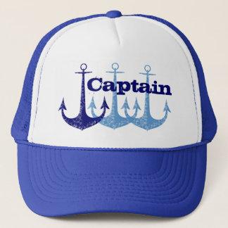 Gorra De Camionero Capitán azul del ancla, muchacho personalizado