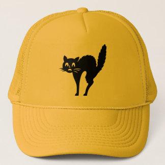 Gorra De Camionero Casquillo de Halloween del gato de Scaredy