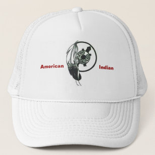Gorra De Camionero Casquillo indio americano de la pluma y de la a5b7e25aedb