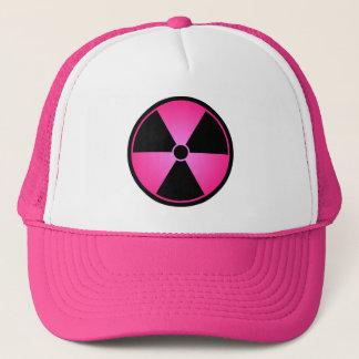 Gorra De Camionero Casquillo rosado del símbolo de la radiación