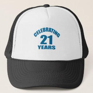 Gorra De Camionero Celebrando 21 años de diseños del cumpleaños