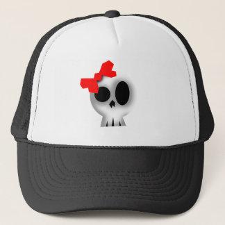 Gorra De Camionero Cráneo bonito con el arco rojo