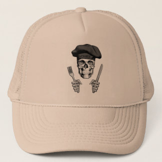 Gorra De Camionero Cráneo del cocinero: Cuchillo y bifurcación