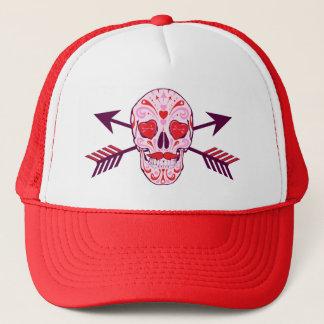 Gorra De Camionero Cráneo y flechas del azúcar del corazón