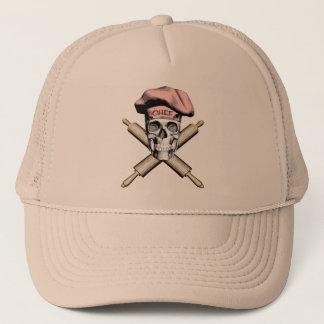Gorra De Camionero Cráneo y rodillos del panadero: Rosa