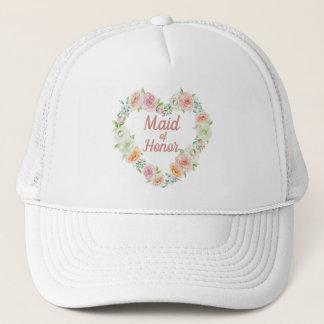 Gorra De Camionero Criada de las novias de la guirnalda del corazón