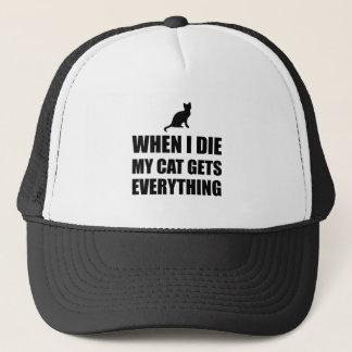 Gorra De Camionero Cuando muero mi gato consigue todo