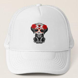 Gorra De Camionero Día rojo del perro de perrito muerto del bebé
