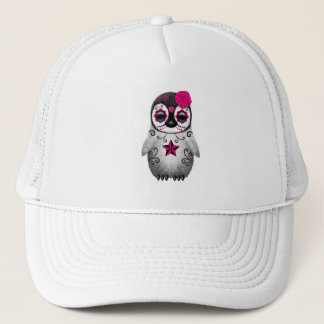 Gorra De Camionero Día rosado del pingüino muerto del bebé