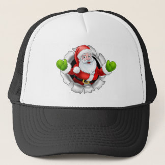 Gorra De Camionero Dibujo animado de Santa que rasga a través de un