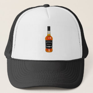 Gorra De Camionero Dibujo de la botella de whisky aislado en