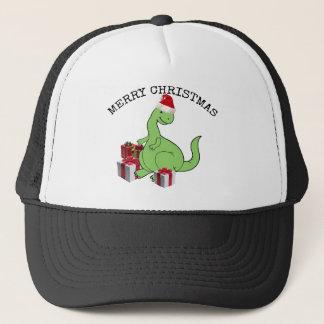 Gorra De Camionero Dinosaurio divertido lindo de Santa del navidad
