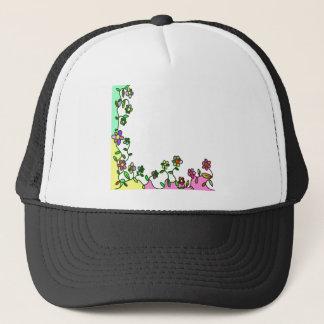 Gorra De Camionero doodle floral de la flor del dibujo animado de la
