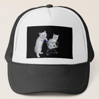 Gorra De Camionero Dos gatitos blancos con el carro de la compra en